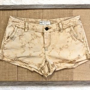 Free People Khaki Green Distressed Jean Shorts
